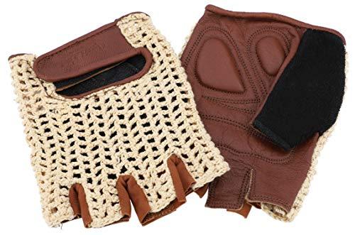 Gusti Steve L. S - Guantes de piel para bicicleta, sin dedos, acolchados, ganchillo, color marrón