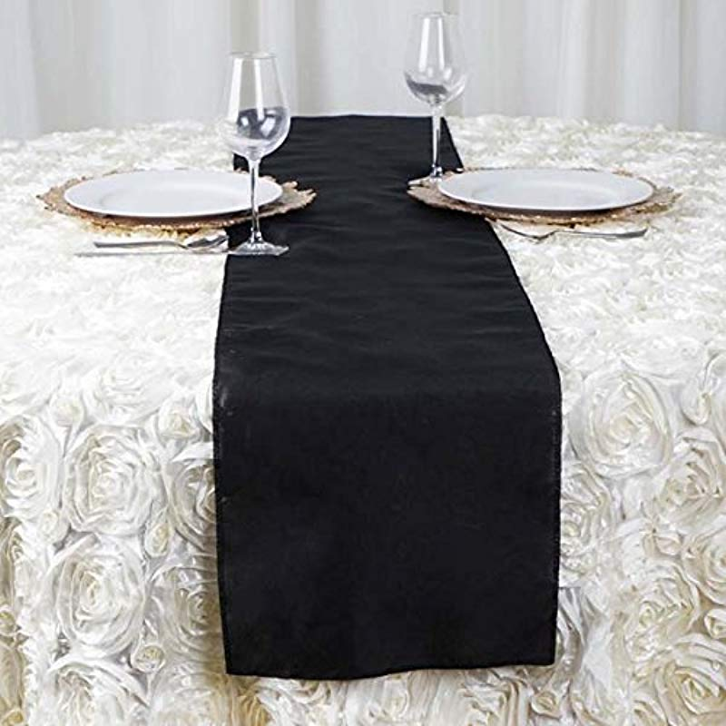Efavormart 5PCS Of Black Premium Polyester Table Top Runner For Wedding Birthday Party Banquets Decor Fit Rectangle And Round Table