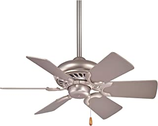 Minka-Aire F562-BS Downrod Mount, 6 Grey Blades Ceiling fan, Brushed Steel