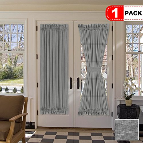 H.VERSAILTEX Functional Rod Pocket Home Decorative Linen Sheer Door Panel, Airy and Breathable Natural Linen Blended Curtain Panel for French Door, Set of 1, 52 x 72 - Inch - Grey