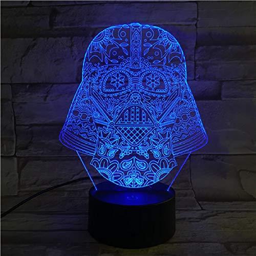 Wangzj 3D Night Light Led Optical Illusion Lamp/7 Color Light/Bedside Table Lamp/Kids Birthday Christmas Gifts/Biochemical Warrior-B2