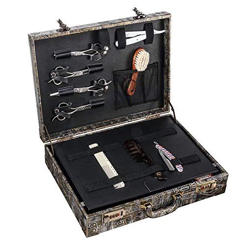 QLT BETY Barber Toolbox Suitcase Coiffeur Rétro boîtes de Rangement Mot de Passe maître 31 × 41.5 × 11cm