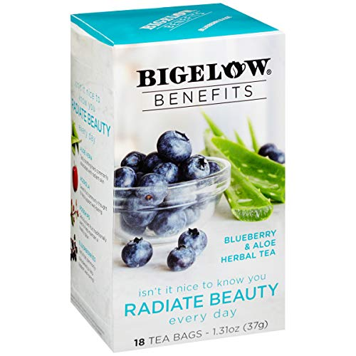 Bigelow Benefits Radiate Beauty Blueberry and Aloe Herbal Tea Bags, 18 Count Box (Pack of 6), Caffeine Free Herbal Tea 108 Tea Bags Total