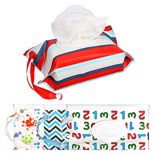 Dispensador portátil de toallitas húmedas para bebés, con estuche para toallitas húmedas reutilizable y rellenable, para viajes, 24,5 x 13,5 x 4 cm, 4 unidades