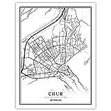 h-p Schweiz Schwarz-Weiß-Weltplan Poster Nordisches