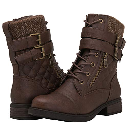 GLOBALWIN Women's Combat Boots Brown Lace Up Ankle Booties 7.5M