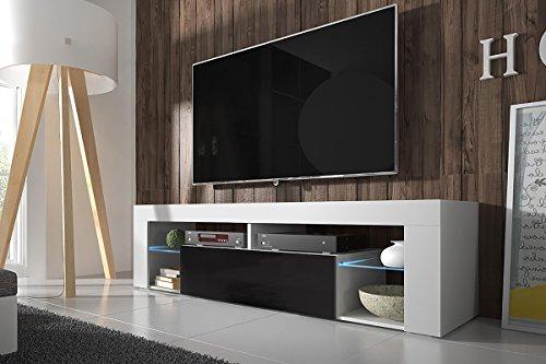 Selsey Bianko – TV Lowboard / TV Schrank optional mit LED-Beleuchtung, laminierte Platte, Schwarz, 140 x 35 x 50.5 cm
