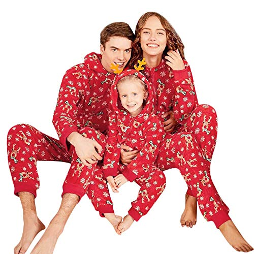 BaZhaHei Reno Capucha Romper Mono Pijamas de Familia Ropa de Dormir Traje de Navidad de Manga Larga con Capucha Ciervos navideños de una Pieza para Padres e Hijos en el hogar Viajes Vacaciones