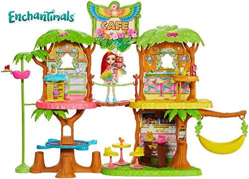 Enchantimals - Supercafé de la Selva Mágica con Muñeca Danessa Deer y Sprint y Peeki Parrot (Mattel GFN59)