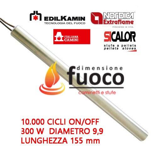 Zündkerzenwiderstand für Pelletöfen, 300 W, 155 mm, Durchmesser: 9,9 mm, für Edilkamin