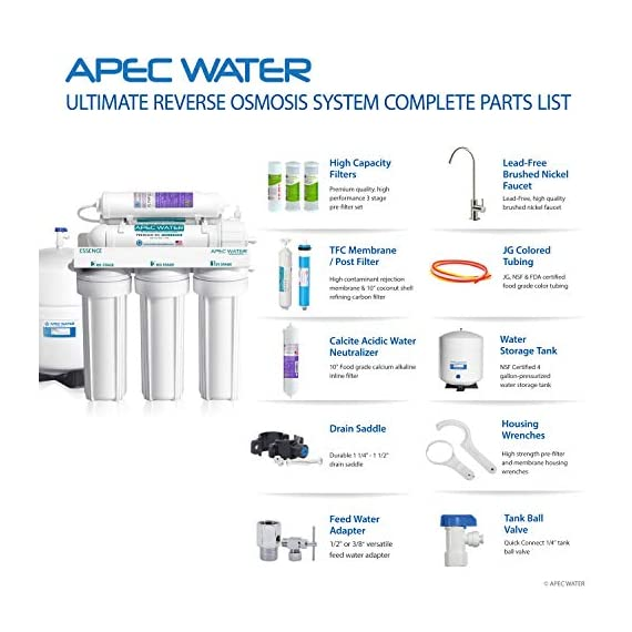APEC Water Systems ROES-PH75 Essence Series Top Tier Alkaline Mineral pH+ 75 GPD 6-Stage Certified Ultra Safe Reverse… 6 Supreme quality - designed, engineered and assembled in USA to guarantee water safety & your health. This 75 GPD 6-stage system ROES-PH75 is guaranteed to remove up to 99% of contaminants such as chlorine, taste, odor, VOCs, as well as toxic fluoride, arsenic, lead, nitrates, heavy metals and 1000+ contaminants. Max Total Dissolved Solids - 2000 ppm. Feed Water Pressure 40-85 psi US made cartridge uses food-grade calcium from trusted source for safe, proven water pH enhancement. Enjoy ultra-pure drinking water with added calcium minerals for improved ALKALINITY and great taste.
