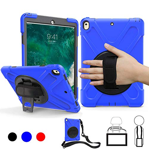 iPad Air 10.5 Case 2019, iPad Pro 10.5 Inch Case 2017, BRAECN Tough Protection Shockproof Durable Case Cover with Handle Grip,Shoulder Strap,Kickstand for iPad Air 3rd Generation Kids,Friendly -Blue