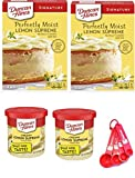 Duncan Hines Signature Perfectly Moist Lemon Supreme Cake Mix, 15.25 Oz ( 2 Pack ) Duncan Hines Rich & Creamy Lemon Frosting Bundle (2 Packs) Nesting set of measuring spoons included