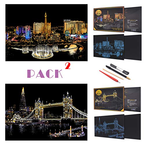 Scratch Painting Rainbow Paper by BOTEEN, Sketch DIY Art Craft City Series Night View Creative Gift, Scratchboard for Adults and Kids ,Craft Kits with 4 Tools,16x11 (Las Vegas,Tower Bridge)