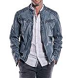 engbers Herren Rustikale Lederjacke in Trendfarbe, 30641, Blau in Größe 50