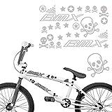 BMX Aufkleber Set für Fahrräder Sticker Motive Totenkopf Sterne Bike Aufkleber | S4B0076