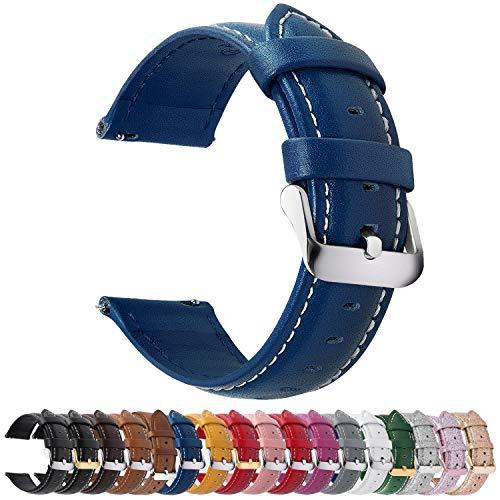 Fullmosa 12 Colori per Cinturini di Ricambio, Axus Pelle Cinturino/Cinturini/Braccialetto/Band/Strap di Ricambio/Sostituzione per Watch/Orologio 14/16/18/19/20/22/24mm, Blu Scuro 22mm