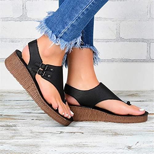 2020 Nuevas Sandalias Casuales Mujeres De Verano Slippers De Verano Plataforma Antideslizante Cuñas Zapatillas Zapatos De Playa Femeninos Flip Chanclas para Mujeres Niña,Negro,37