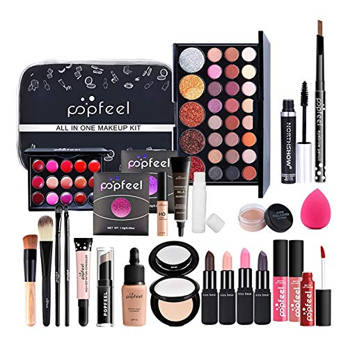 Alles in einem Make-up-Paket, 27-teiliges Kosmetik-Kit mit Pro-Make-up-Pinsel-Set, Lidschatten-Palette, Make-up-Set oder Lipgloss-Set usw. Geschenküberraschung für Mädchen