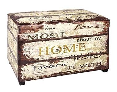 Haku Möbel caja de asiento - Tapizado en apariencia vintage, altura marrón 42 cm
