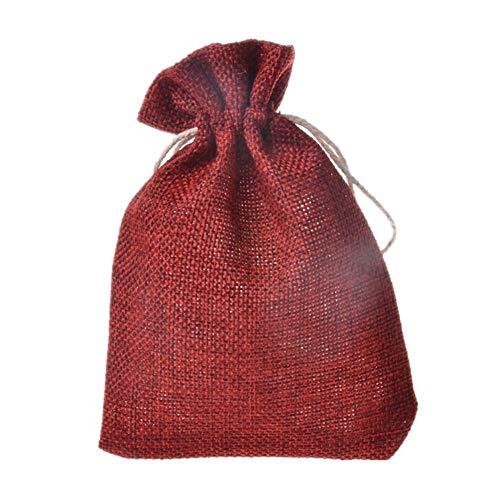 KANKOO Bolsas Arroz Boda Bolsa de Regalo con Cordón Pequeño Bolso de Lazo Decoración de Navidad Bolsa Dulces Bolsas de Regalo Navidad Bolsas de Regalo Wine Red,5 pcs