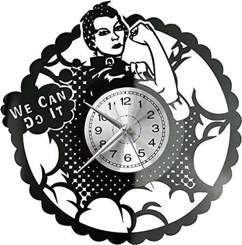 hhhjjj Rossi Remache Reloj de Pared Disco de Vinilo Reloj Retro Reloj de Mesa Reloj Alto Estilo habitación decoración del hogar Reloj