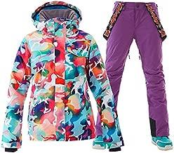 GSOU SNOW Womens Ski Suit Snow Suit Women Waterproof Ski Jackets Warm Coat Snow Jacket and Pants (Style11, Medium)