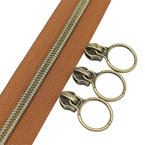 YaHoGa #5 Antique Brass Metallic Nylon Coil Zippers by The Yard Bulk Brown Tape 10 Yards with 20pcs Sliders for DIY Sewing Tailor Craft Bag (Anti-Brass Brown)