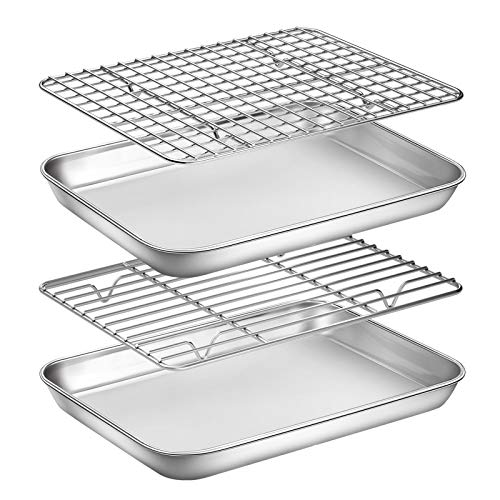 Baking Sheet with Rack Set, Yododo Set of 4 (2 Sheets + 2 Racks), Stainless Steel Cookie Sheet Baking Pan Tray with Cooling Rack, Non Toxic & Heavy Duty & Easy Clean - Size of 9 inch