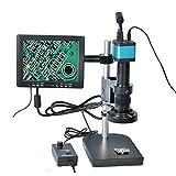"HAYEAR Full Set 14MP Industrial Digital Microscope Camera HDMI USB Outputs+180X C-Mount Lens+8"" HD LCD Monitor+60 LED Illumination Light Lamp"
