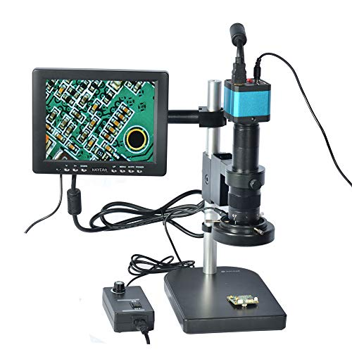 HAYEAR Full Set 14MP Industrial Digital Microscope Camera HDMI USB Outputs+180X C-Mount Lens+8' HD LCD Monitor+60 LED Illumination Light Lamp