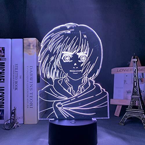 Anime Attack on Titan Lámpara 3d Armin Arlert Light, para decoración de dormitorio Regalo para niños Attack on Titan LED Night Light Armin Arlert