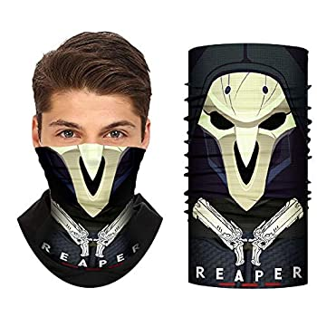 OW Reaper Face Bandana Mask - Game Cosplay Neck Gaiter Half Face Headwear UV Windproof for Motorcycle Outdoor Sports Men