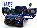 BC Babycoches-Coche electrico 12 V para niños Imitacion policia, Ruedas Caucho, Sirena, Luces moviles, megafono, Mando Parental. Color Azul.