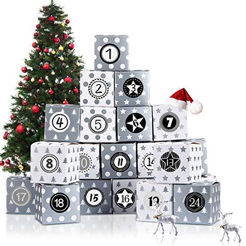 Adventskalender zum Befüllen, Adventskalender Boxen, 24 Adventskalender Schachteln, 1-24 Adventszahlen Aufkleber für Kinder DIY Weihnachtliche Dekoration