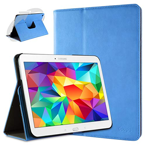 doupi Smart Flip Cover for Samsung Galaxy Tab 2 (10.1 inch), Deluxe Protective Case with Sleep/Wake Function 360 Degree Rotatable Stand Screen Protector, Blue