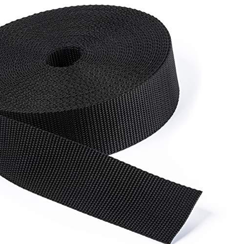 2 Meter PP-Gurtband, Taschenband, Taschengurt - schwarz - 1,6mm stark, 40mm breit