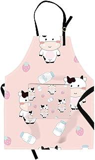 Qchengsan - Delantal infantil colorido de animales, vaca lechera, con bolsillo y tirante ajustable al cuello, 1, 15