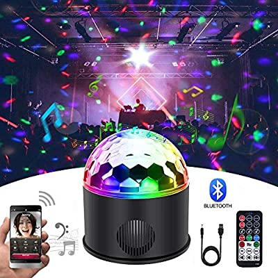 KB-SEVEN Disco Ball 9 Colours Mini Bluetooth Music LED Party Light Colourful Light Effects Light Stage Lighting Crystal Magic Ball with Remote Control for Children, Bar, Party [Energy Class A++]