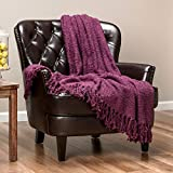 Chanasya Fuzzy Textured Shiny Thread Soft Fluffy Throw Blanket Warm Cozy Plush Luxurious Blanket for Sofa Chair Couch Bed Living Room with Fringed Tassels Purple Throw Blanket (50x65 Inches) Aubergine
