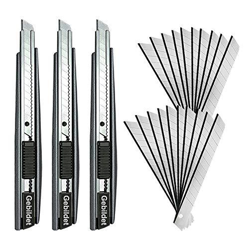 Gebildet 3 stücke Professionelle Cutter Messer mit 20 stücke Klingen/9mm Abbrechklingen/60 Grad Folienmesser/Allzweckmesser/Grafikmesser/Ideal für Folien, Tapeten, Handwerk, kartons