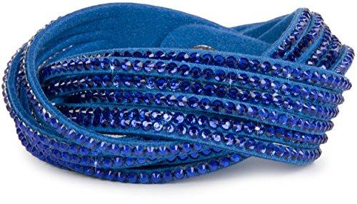 styleBREAKER weiches Strass Armband, eleganter Armschmuck mit Strassteinen, Wickelarmband, 6x1-Reihig, Damen 05040005, Farbe:Blau/Blau