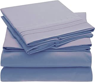 Mellanni Bed Sheet Set Brushed Microfiber 1800 Bedding - Wrinkle, Fade, Stain Resistant - Hypoallergenic - 4 Piece (Queen, Blue Hydrangea)