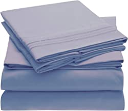 Mellanni Bed Sheet Set Brushed Microfiber 1800 Bedding - Wrinkle, Fade, Stain Resistant - Hypoallergenic - 4 Piece (Full, Blue Hydrangea)
