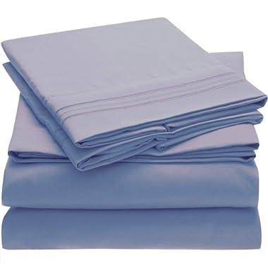 Mellanni Bed Sheet Set - Brushed Microfiber 1800 Bedding - Wrinkle, Fade, Stain Resistant - 4 Piece (King, Blue Hydrangea)