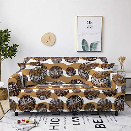 Universal Sofa Cover Spandex Stretch Couch Slipcover Simple Brown Circles Pattern Tight Fitted Armchair Loveseat Settee Cover 1/2/3/4 Seater Sofa Protector,3,seater 190,230cm