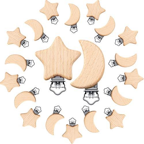20 Piezas Clips de Chupetes de Madera Haya Natural Pinzas de Chupetes Juguetes Encantos para Dentición Bebé (Estrella y Luna)