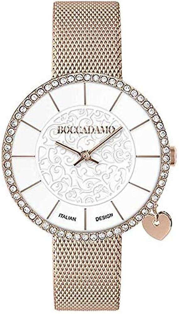 Boccadamo, orologio per donna,in acciaio e con lunetta decorata da cristalli swarovski Mx012