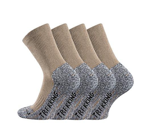 TippTexx24 Trekkingsocken, 4 Paar Trekking Socken Coolmaxsocken, Beige, 39/42