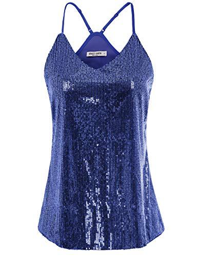 Women Sequin Top Sleeveless Camisole Vest Sequin Tank Tops Size XL,Dark Blue